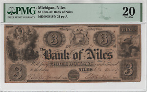 1837 $3 Bank of Niles Michigan Obsolete Note Currency PMG VF 20 LOW SERIAL 21