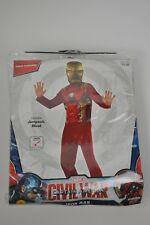 New IRON MAN Captain America Child Costume Jumpsuit & Mask Large 12-14 Halloween