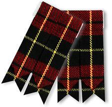 Men's Kilt Flashes Wallace Tartan/Highland Kilts Sock Flashes Tartan Wallace,L