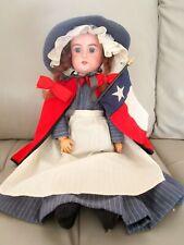 "Antique German Armand Marseille 20"" Floradora Doll Composition Body Texas Dress"