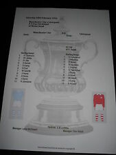 FA Cup 1955-56 5th ROUND Manchester City V Liverpool matchsheet