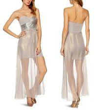 Lipsy Sequin Strapless Bandeau Bodycon Party Club Maxi Prom Dress UK 10 / EU 38 / US 6 Jd02094 Silver (shiny Grey)