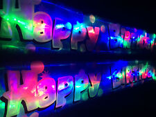 BLUE FLASHING HAPPY BIRTHDAY BANNER PARTY LED DECORATIONS TABLEWARE  GLOWS