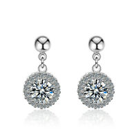 Womens Exquisite 925 Sterling Silver Round Zircon Dangle Ball Bead Stud Earrings