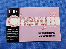 1963 CHEVY II NOVA English Canadian owners manual guide 63 NOS