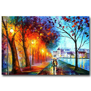 A Couple Walking in Rain Abstract Art Silk Poster 13x20 24x36 inch 019