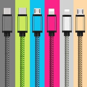1M 2M 3M 2.1A Quick Braided Micro USB Android Type-C IOS Charger Data Sync Cable
