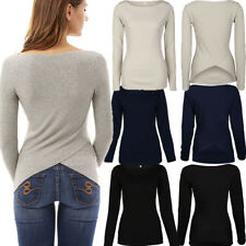 UK Womens Long Sleeve Jumper Pullover Blouse Ladies Casual Irregular Back Tops