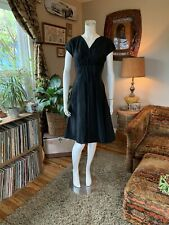 Vintage 1940s 50s Black TAFFETA knife Pleat Dress Velvet