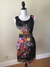 Yoana Baraschi Black Floral Satin Dress sz 4 retail  $300 anthropologie