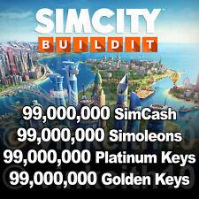 SIMCITY BUILDIT Sim cash Simoleons Golden Platinum Keys IOS Android