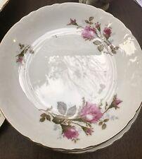 Vintage Pompadour Rose (Gold Trim) by Lipper & Mann (L & M) Six Salad Plates