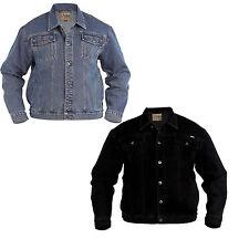 MENS DENIM JEAN JACKET - Duke D555 Classic Western Style Trucker Jacket Coat New