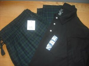 Mens NWT Flannel Pants/SS Golf Shirt Lounge BIG & TALL Black Watch Plaid 3XL-4XL