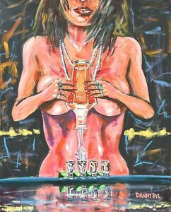 Tequila Shots Nude Babe Original Art Painting DAN BYL Modern Contemporary 4x5ft