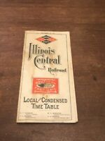 1893 Illinois Central Railroad Timetable World's Fair Map Southern Fast Mail MAP