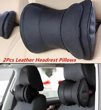 2Pcs Black Leather Car Truck Neck Rest Headrest Pillow Cushion Mat Universal