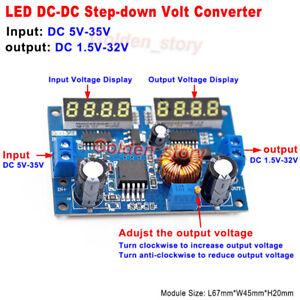 Digital LED 3A DC-DC Buck Step-Down Volt Converter 5V-32V to 3.3V 5V 9V 12V 24V