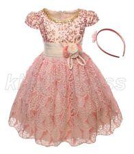 NEW Kid Flower Girl Pageant Wedding Dress Headband Beige Orange Set SZ 4-5 Z594A