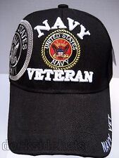 U.S.NAVY VETERAN Cap/Hat Black New w/ Shadow Military FREE Shipping