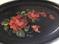 Fine Arts Studio Black Toleware Tole Platter Tray Signed Margo Red Roses Chic