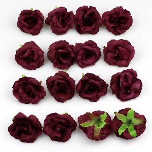 Burgundy Artificial Rose Flower Heads 10/100pcs Silk Wedding Fake Bouquet Decor