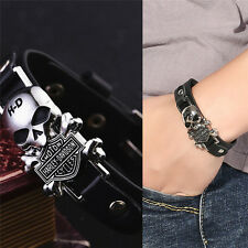 Charm Skull Bracelets Stainless Steel Rivet Punk Leather Bracelet New Best EF JL