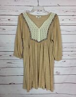 Umgee USA Boutique Women's M Medium Beige Lace Boho 3/4 Sleeves Spring Tunic Top