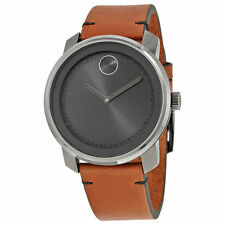 New Movado Bold Grey Dial Rustic Brown Leather Strap Men's Watch 3600366