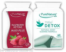 60 Raspberry Ketones Maxiplus & 60 Total Detox Colon Cleanse Fat Diet Slim Pills