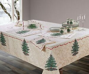 """Spode Christmas Tree Fabric Oblong Oval Tablecloth 60""""x102"""""""