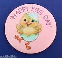 Hallmark BUTTON PIN Easter Vintage CHICK DUCK Happy EGG DAY Holiday Pinback