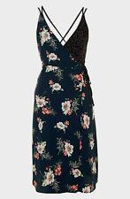 Topshop Navy Floral Lily Spot Strappy Wrap Midi Slip Dress - Size 14