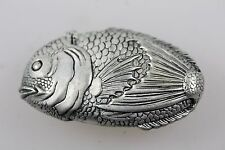 FISH SILVER PLATED MATCH EMBOSSED VESTA CASE