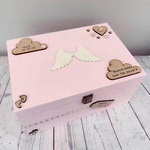 Personalised Baby Wooden Memory - Keepsake Box - Loss  bereavement - Boy Girl