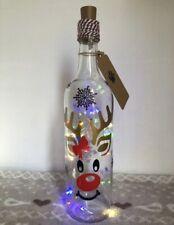 Handmade Light Up Christmas Themed Wine Bottle