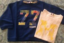 MSGM Milano Felpa Corta Bluette E T-shirt Bianca Tg.14 Anni/ 38-40