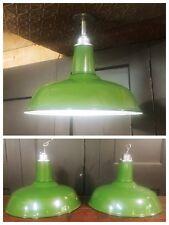 """Vintage Green Porcelain Enamel Light Fixture 18"""" Barn Gas Station Industrial"""