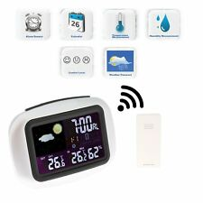 Wireless Weather Station Clock Digital LCD Temperature Humidity Meter In/Outdoor