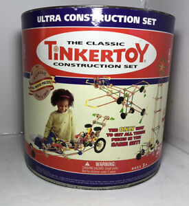 The Classic Tinkertoy Ultra Construction Set Tinker Toys Lot Wood & Plastic