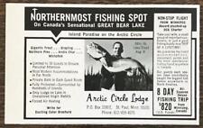 1967 Arctic Circle Lodge Great Bear Lake Canada Print Ad Fishing Gigantic Trout