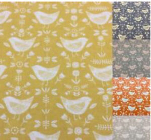 Fryetts Cotton Fabric NARVIK, Scandi Style Birds for Curtain/ Upholstery/Crafts