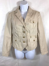 Banana Republic Heritage Womens Short Cotton Safari Blazer Jacket Size 8 Beige