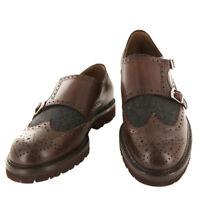 Brunello Cucinelli Marron Chaussures Cuir - Moine Bretelles - 9/8 - (BC-CI318)