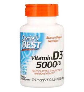 Doctor's Best Vitamin D3 5000iu 180 Softgels IMMUNE HEART & BONE SUPPORT