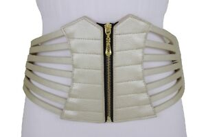 Women Wide Metallic Gold Champagne Color Stripes Corset Waistband Belt Size L XL