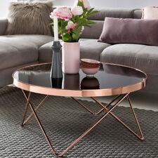 Design Couchtisch ROUND Glas Kupfer Wohnzimmertisch 82cm Rund Lounge Sofa Tisch
