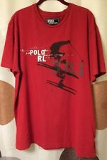 POLO BY RALPH LAUREN MEN'S LARGE SNOW SKI GRAPHICS RED T-SHIRT S/S STRETCH KNIT