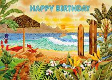 4 Greeting Cards Hawaiian Happy Birthday Surfing the Islands by Robin Altman