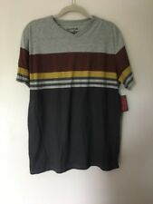 Trademark Brooklyn Cloth Gray Yellow Blue Striped Short Sleeve Shirt - XL NWT